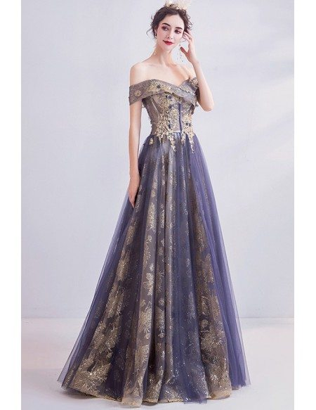 Classical Gold With Purple Tulle Prom Dress With Off Shoulder