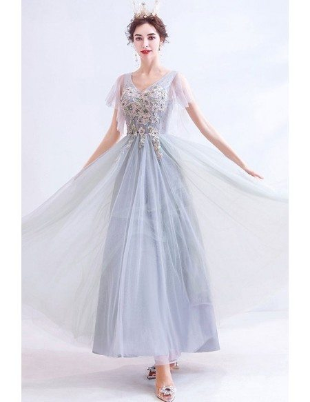 Flowy Grey Tulle Aline Prom Dress Vneck With Beaded Flowers