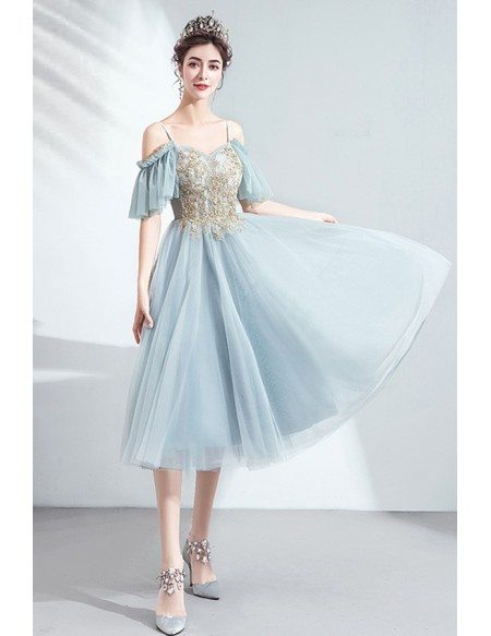 Dusty Green Blue Tea Length Party Dress With Straps