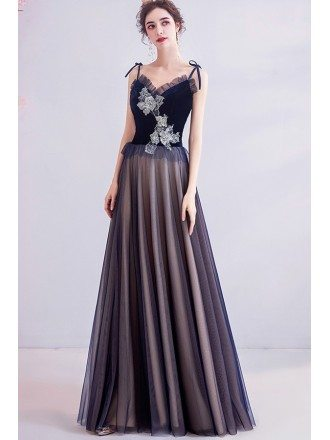 Dark Navy Blue Tulle Aline Prom Dress With Beaded Flowers