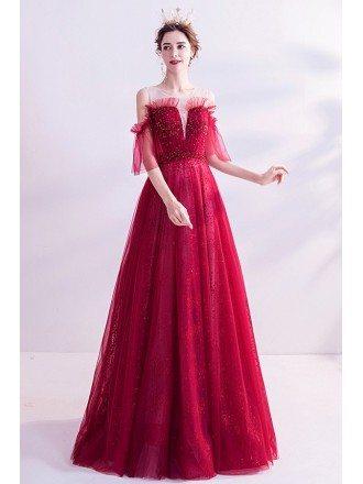 Bling Sequins Aline Long Tulle Prom Dress Burgundy Red With Cold Shoulder