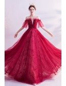 Bling Sequins Aline Long Tulle Prom Dress Burgundy Red With Cold Shoulder