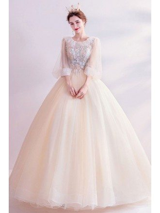Light Champagne Ballgown Long Sleeve Prom Dress With Beaded Petals