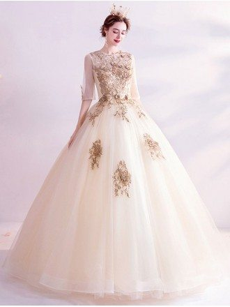 Luxe Champagne Gold Ballgown Wedding Dress With Half Sleeves Embroidery