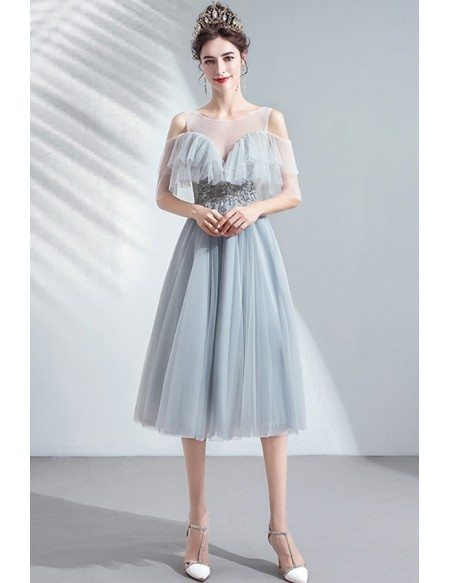 Grey Comfy Knee Length Tulle Party Dress With Illusion Neckline