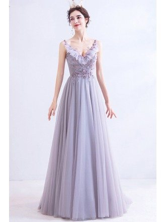 Light Purple Long Tulle Vneck Prom Dress With Beadings