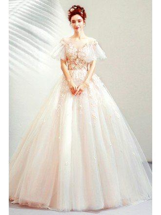 Romantic Cream White Flower Petals Ballgown Wedding Dress With Illusion Neck