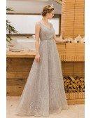 Elegant Silver Sequins Vneck Long Prom Evening Dress Empire Waist