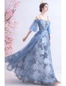 Blue Long Tulle Flower Pattern Beautiful Prom Dress With Tulle Sleeves