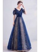 Blue Tulle Vneck Long Prom Dress Cold Shoulder With Sparkly Materials