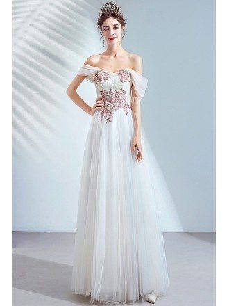 Cream White Off Shoulder Tulle Prom Dress With Flower Appliques