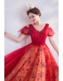 Vneck Long Red Party Prom Dress With Sparkly Sequins Beading