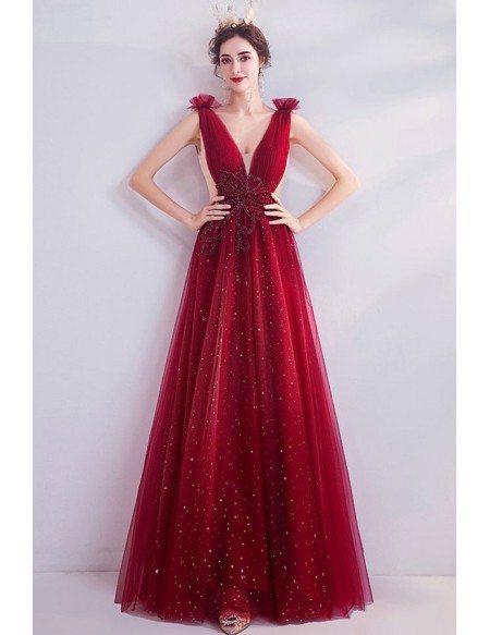 Bling Sequins Burgundy Aline Prom Dress Deep Vneck