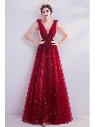 Bling Sequins Burgundy Aline Prom Dress Deep Vneck
