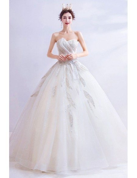Cream White Ballgown Sweetheart Wedding Dress With Bling Feathers