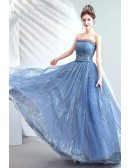 Shinning Blue Sequins Strapless Prom Dress For Party