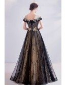 Noble Black With Gold Long Tulle Prom Dress With Illusion Neckline