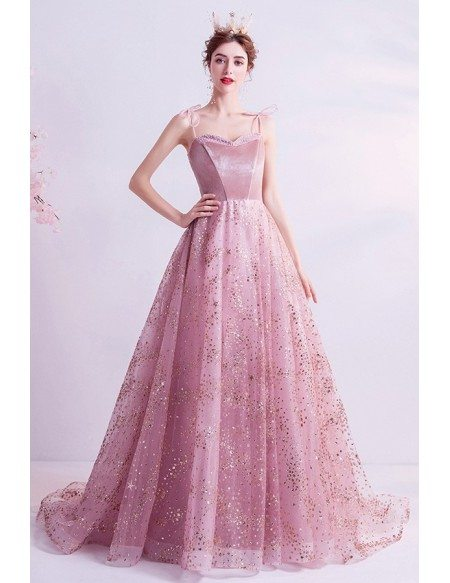 Bling Bling Pink Ballgown Prom Dress With Train Straps
