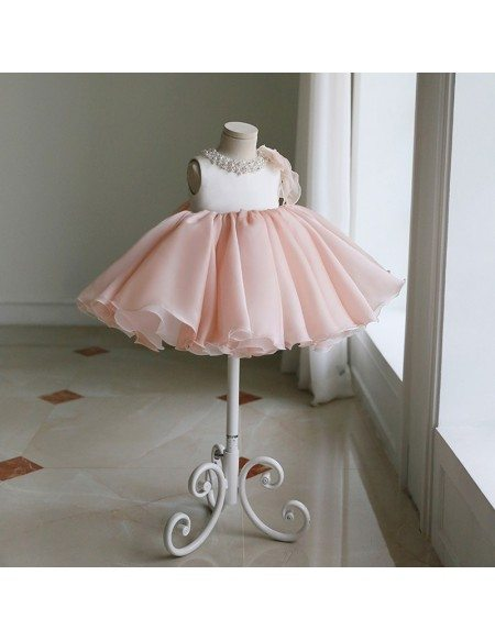 Vintage Champagne Puffy Princess Flower Girl Dress With Bow Couture Pageant Gown