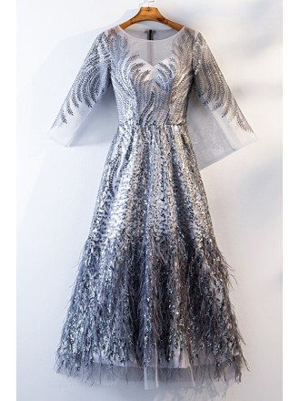 Unique Sparkly Silver Long Party Dress With Long Sleeves