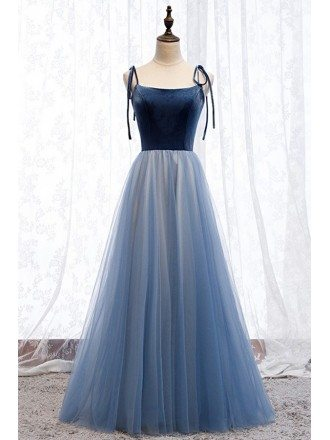 Blue Tulle Two Tone Aline Prom Dress For Parties