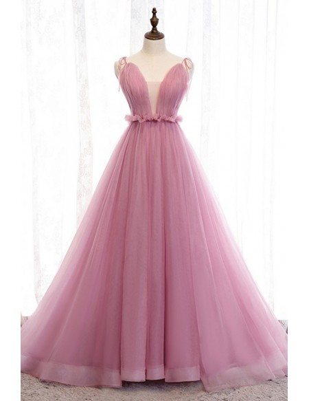 Stunning Vneck Ballgown Rose Pink Tulle Prom Dress With Open Back