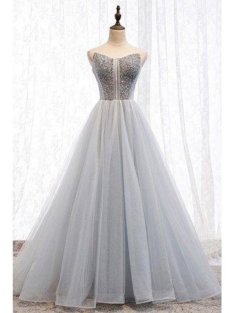 Fancy Grey Tulle Ballgown Prom Dress With Sequins Top