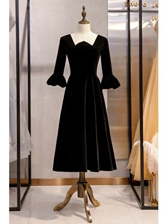 Vintage Black Tea Length Party Dress Velvet With Sleeves