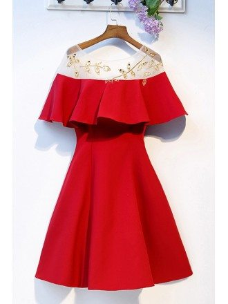 Little Red Aline Simple Short Party Dress With Ruffles Sleeves