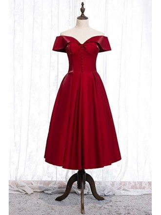 Special Cute Red Off Shoulder Tea Length Formal Dress With Buttons