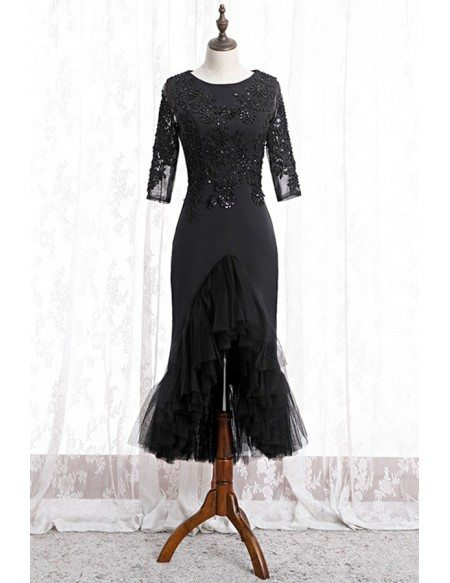 Black Fitted Mermaid Lace Formal Dress With Sleeves