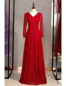 Full Lace Burgundy Long Red Formal Dress With Long Sleeves