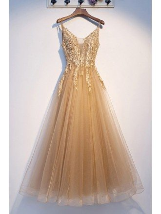 Champagne Gold Aline Tulle Prom Dress With Straps