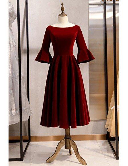 Elegant Velvet Tea Length Retro Party Dress With Flare Sleeves