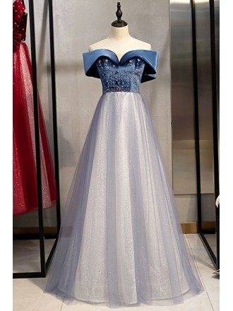 Blue Off Shoulder Beaded Tulle Prom Dress With Bling