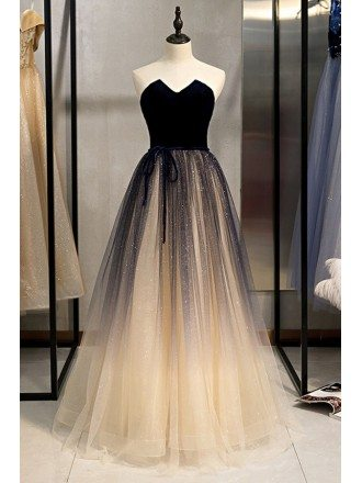Champagne With Blue Long Tulle Prom Dress Strapless