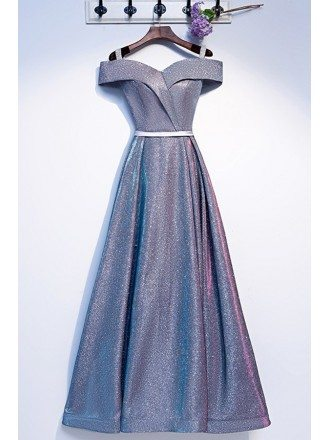 Sparkly Blue Aline Prom Party Dress With Off Shoulder