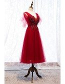 Beaded Lace Burgundy Tulle Party Dress With Puffy Sleeves