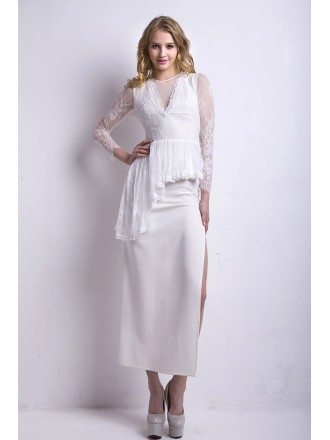 Stylish Chiffon Lace Long Mother of the Bride Dress With Sleeves