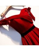 Pleated Burgundy Aline Long Party Dress Cute Off Shoulder