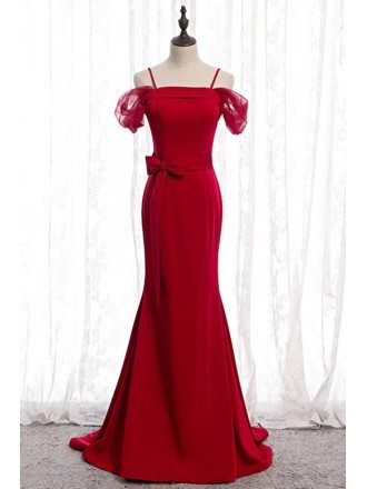 Burgundy Mermaid Long Evening Dress With Bow Sash