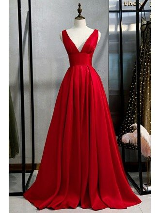 Pleated Vneck Formal Red Prom Dress With Vback