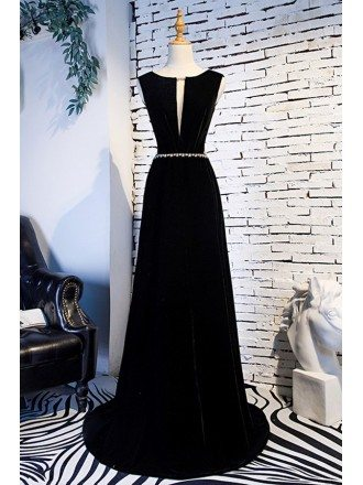 Long Black Cutout Evening Dress Open Back With Train