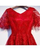 Modest Short Red All Lace Party Dress Vneck With Sleeves
