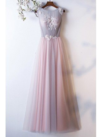 Dusty Pink Grey Tulle Aline Cute Prom Dress With Pleated Top