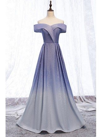Purple Blue Ombre Sparkly Long Prom Dress Off Shoulder