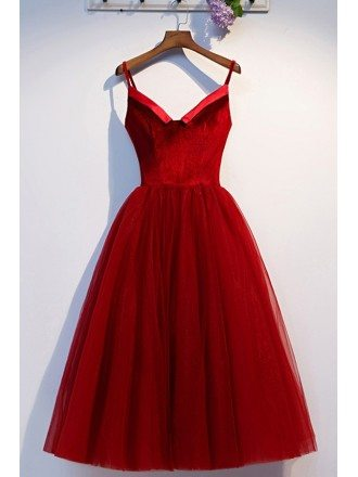 Short Red Velvet With Tulle Cute Party Dress With Straps