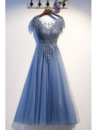 Luxury Beading Blue Tulle Prom Dress With Cap Sleeves