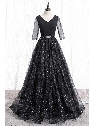 Fantasy Bling Star Formal Prom Dress Vneck With Sheer Sleeves