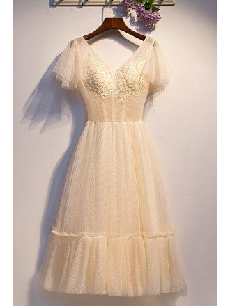 Elegant Champagne Vneck Tulle Long Party Dress With Polka Dots